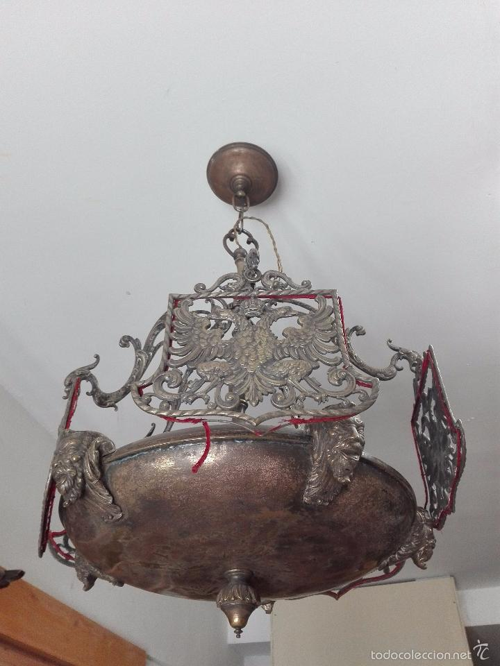 Antigüedades: IMPONENTE LÁMPARA DE DESPACHO EN BRONCE MACIZA - PANTALLAS AGUILA BICÉFALA Y CORONA - CABEZAS - - Foto 6 - 57544409