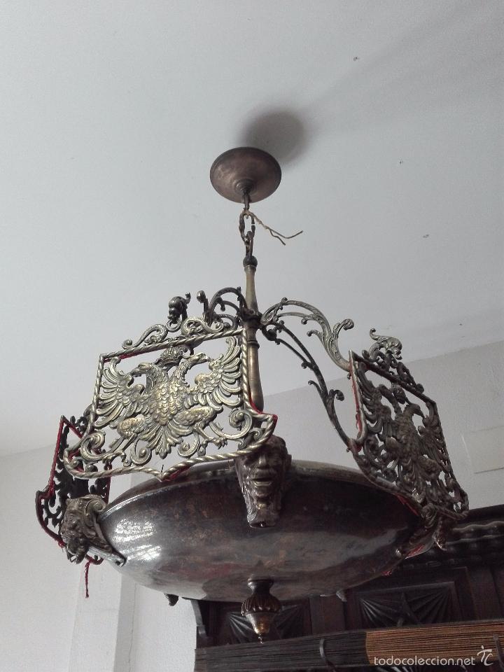 Antigüedades: IMPONENTE LÁMPARA DE DESPACHO EN BRONCE MACIZA - PANTALLAS AGUILA BICÉFALA Y CORONA - CABEZAS - - Foto 7 - 57544409