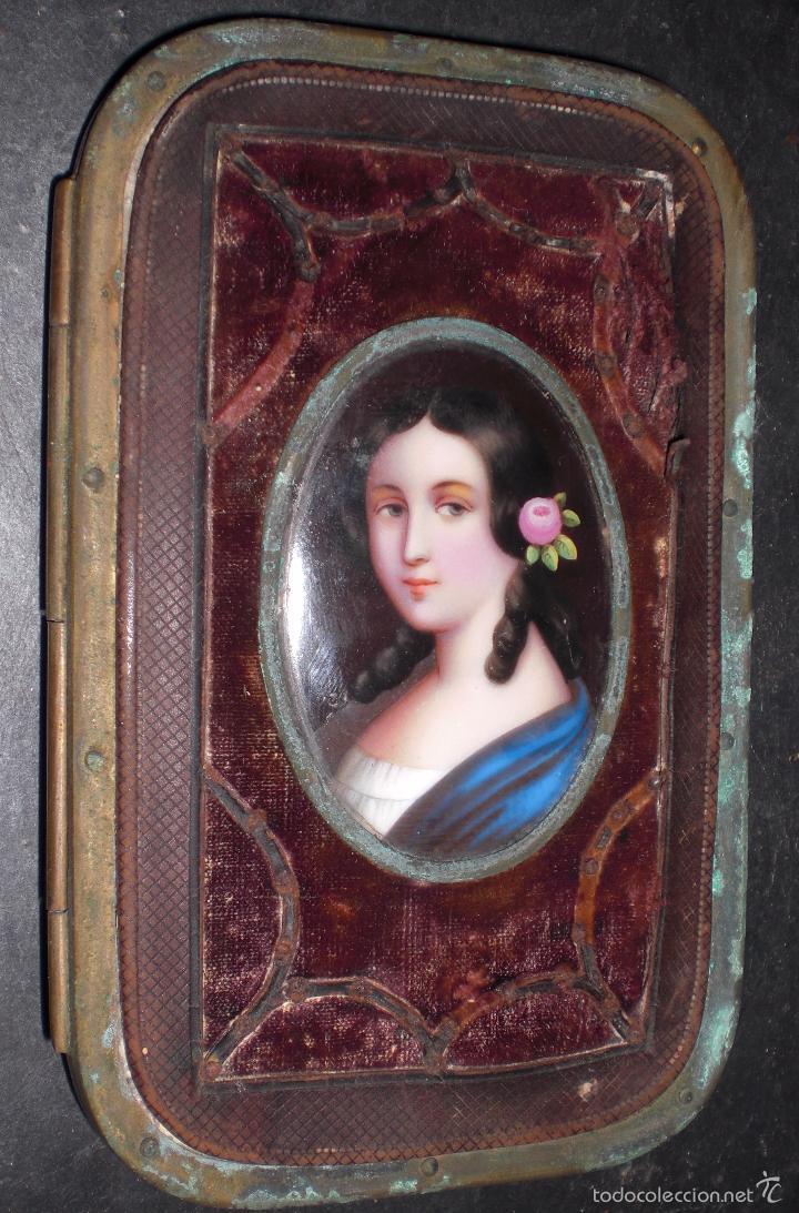 ESPECTACULAR ANTIGUO CARNET DE BAILE AÑOS 30 TERCIOPELO,FOTO DE PORCELANA (Antigüedades - Moda y Complementos - Mujer)