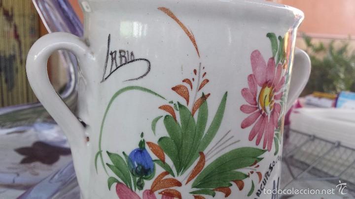 Antigüedades: preciosa copa trofeo, pintada a mano y firmada lario - Foto 2 - 57563226