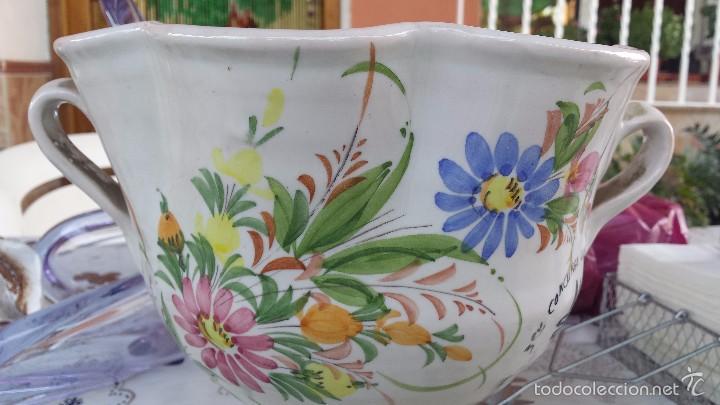 Antigüedades: preciosa copa trofeo, pintada a mano y firmada lario - Foto 2 - 57563253
