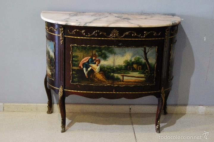 Mueble antiguo pintado a mano luis xv comprar c modas Muebles antiguos pintados a mano