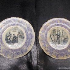 Antigüedades: ANTIGUO PAR DE PLATOS DE MEDIADOS DEL SIGLO XIX, CERAMICA FRANCIA SELLADOS PERIODICOS ANARQUISTAS. Lote 57585264