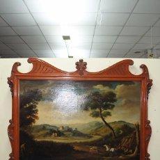Antigüedades: CUADRO CON MARCO DE MADERA ESTILO MODERNISTA. Lote 57589632
