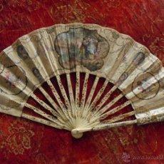 Antigüedades: ABANICO DE MARFIL DE ESQUELETO. Lote 57839353
