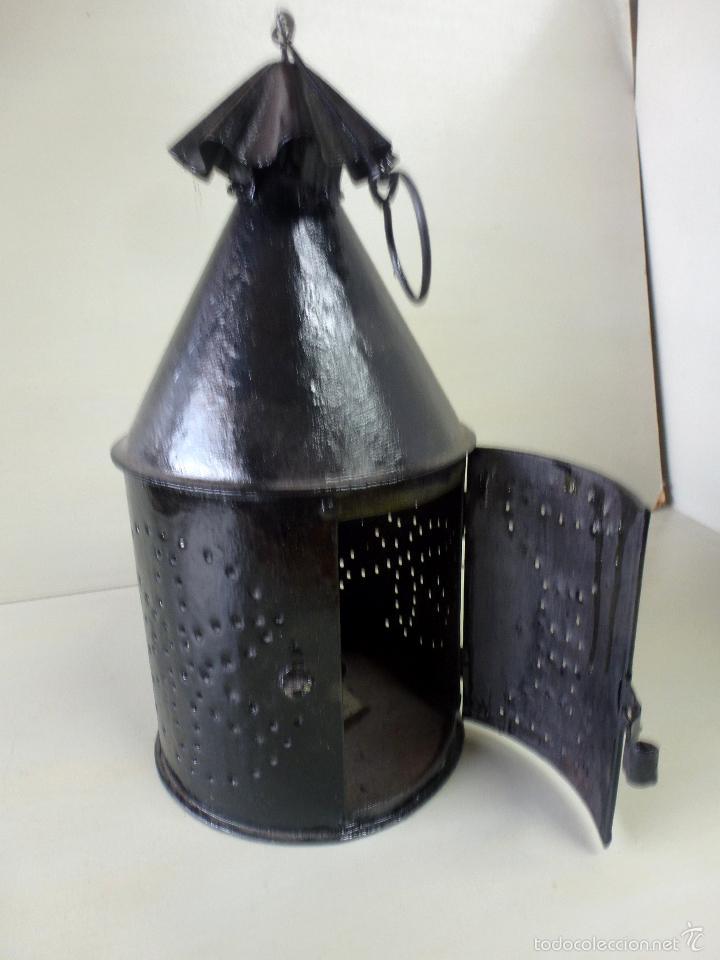 Antigüedades: Fanal, farol, luz para procesiones, Hierro forjado. - Foto 12 - 57610197