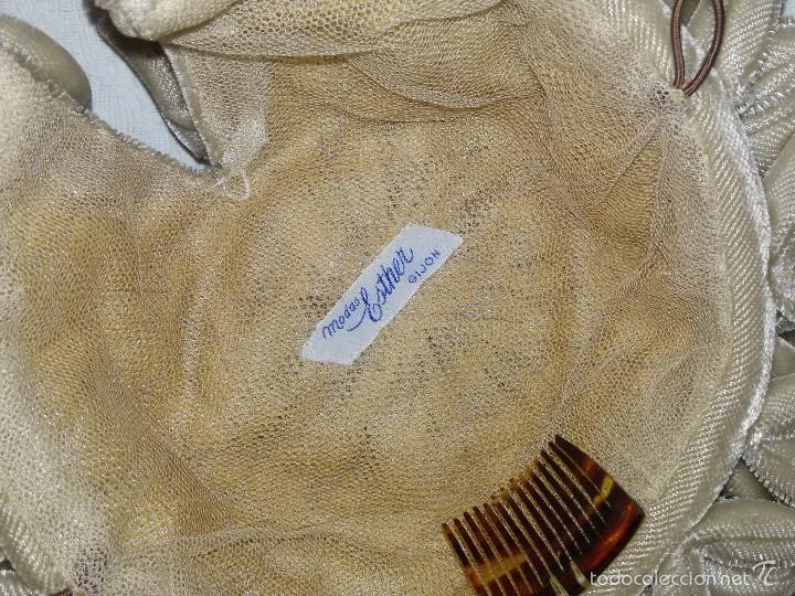 Antigüedades: GORRO O TOCADO INFANTIL DE 17 CM DIÁMETRO-MODAS ESTHER GIJÓN - Foto 4 - 57619492