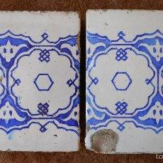 Antigüedades: DOS AZULEJOS DEL SIGLO XIX EN AZUL Y BLANCO. Lote 57619865
