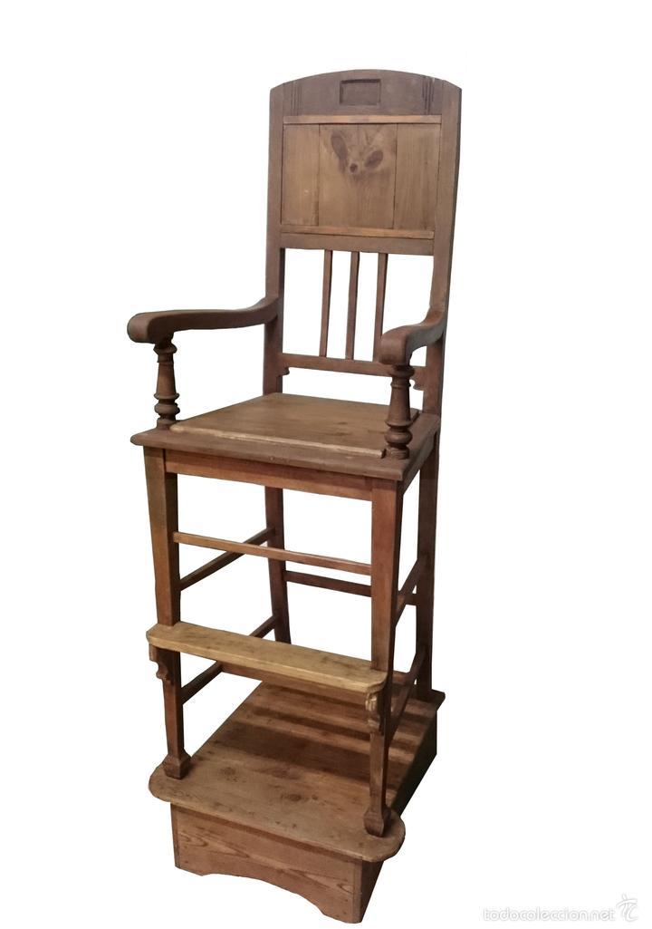 Antigüedades: silla de chef de casino antigua. Unica en todocolección Rarísima y muy dificil de encontrar. - Foto 2 - 137793494