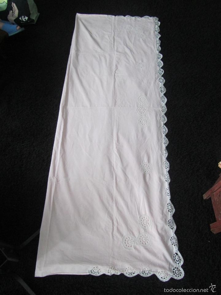 Antigüedades: Sábana con ganchillo fino + funda de almohada - Foto 2 - 57653818