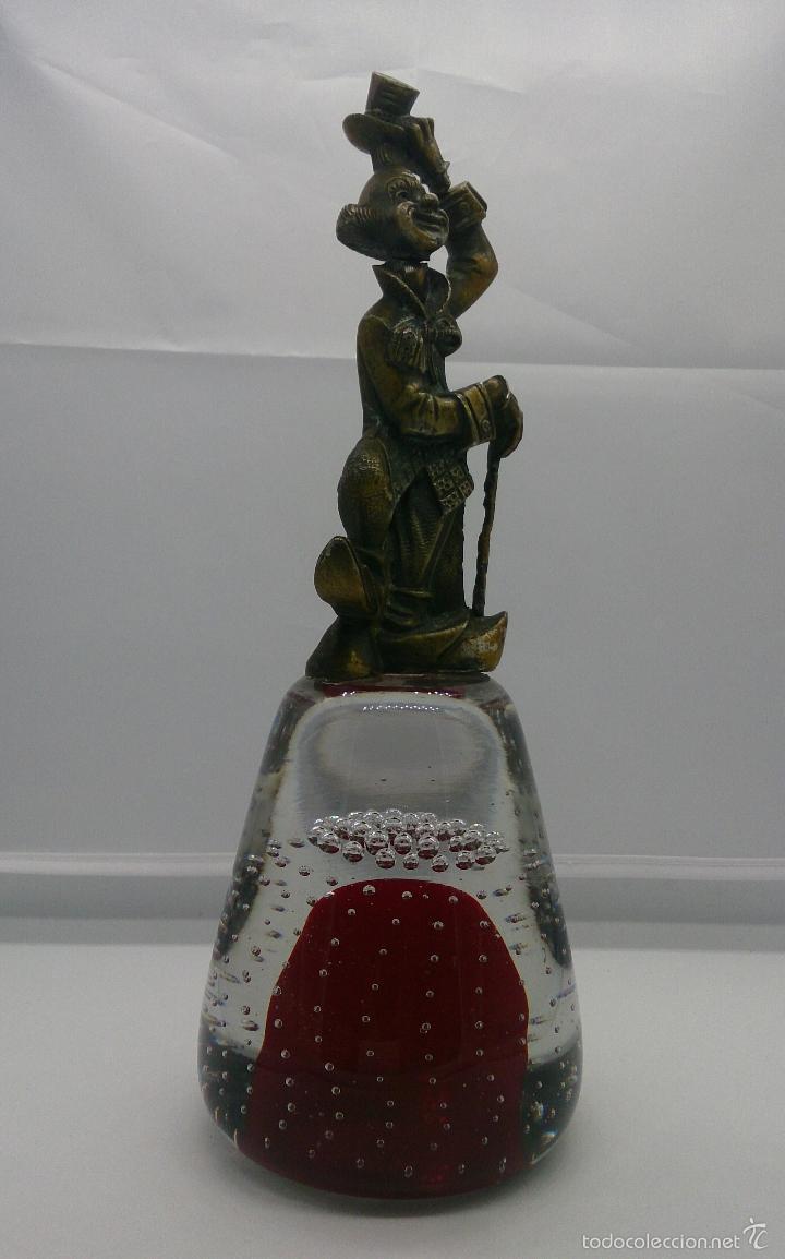 Antigüedades: Gran pisapapeles antiguo en cristal de murano con figura de payaso de metal , art nouveau . - Foto 5 - 57659104