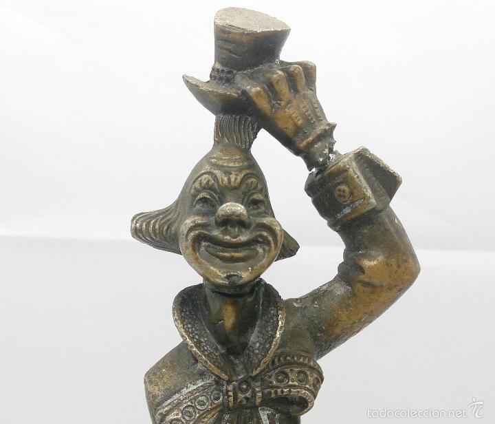 Antigüedades: Gran pisapapeles antiguo en cristal de murano con figura de payaso de metal , art nouveau . - Foto 9 - 57659104