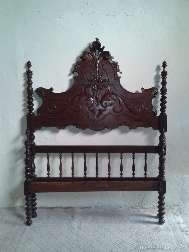 Antigüedades: Cama antigua portuguesa 150 cm. Cama estilo alfonsino isabelino barroco, cabecero antiguo rústico. - Foto 3 - 57670509