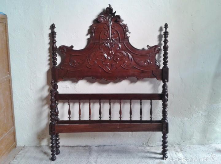 Antigüedades: Cama antigua portuguesa 150 cm. Cama estilo alfonsino isabelino barroco, cabecero antiguo rústico. - Foto 4 - 57670509