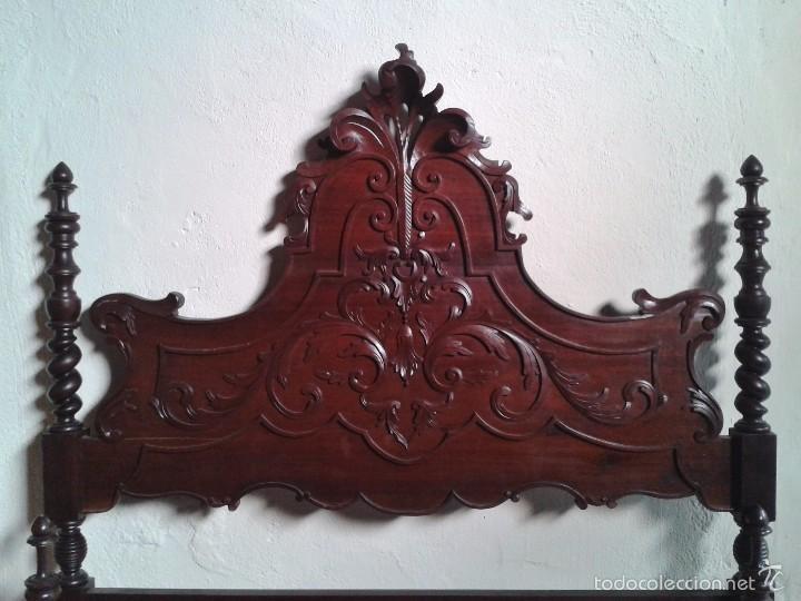 Antigüedades: Cama antigua portuguesa 150 cm. Cama estilo alfonsino isabelino barroco, cabecero antiguo rústico. - Foto 5 - 57670509