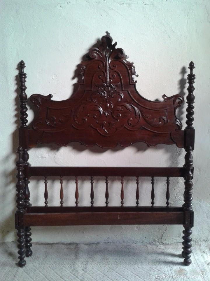Antigüedades: Cama antigua portuguesa 150 cm. Cama estilo alfonsino isabelino barroco, cabecero antiguo rústico. - Foto 6 - 57670509
