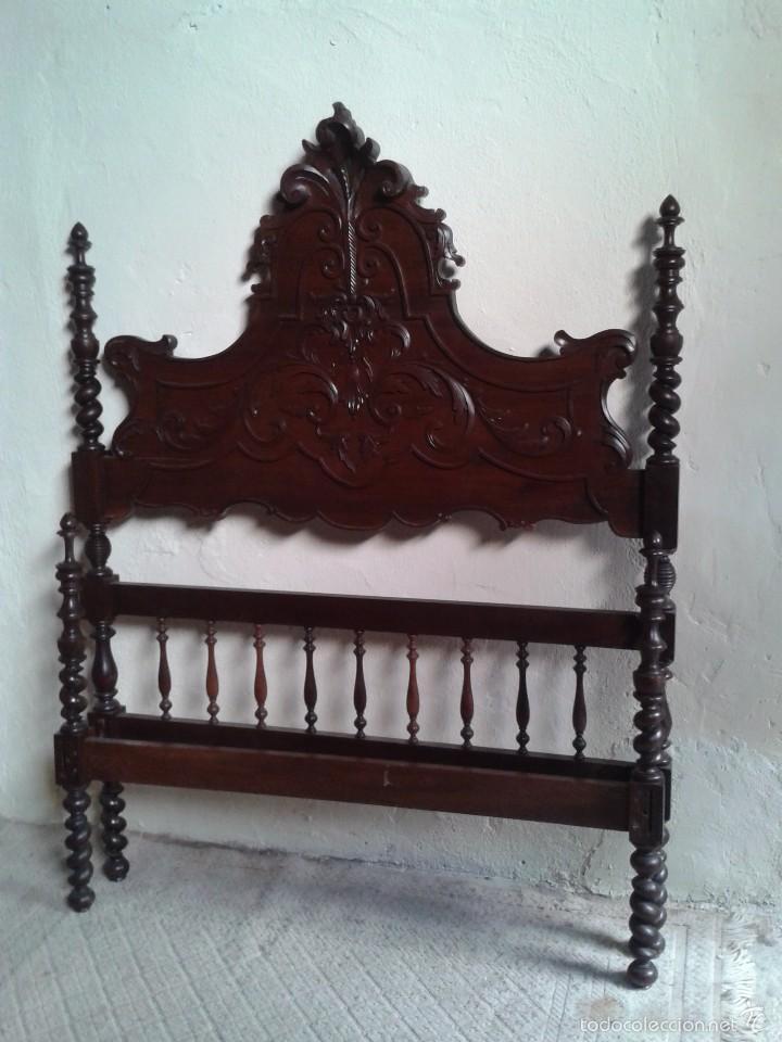 Antigüedades: Cama antigua portuguesa 150 cm. Cama estilo alfonsino isabelino barroco, cabecero antiguo rústico. - Foto 7 - 57670509