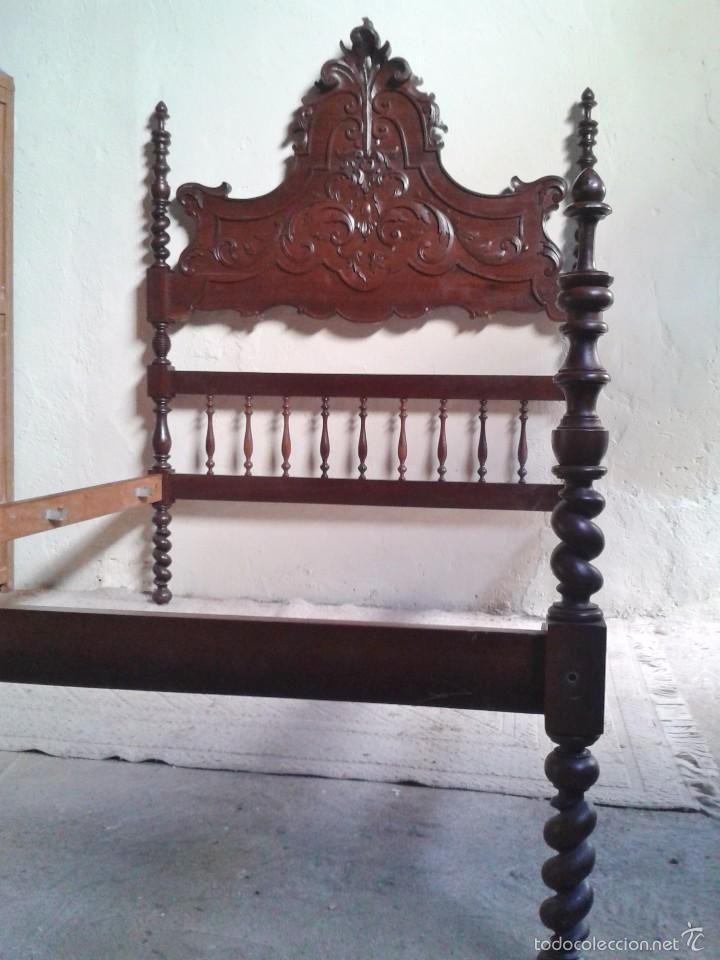 Antigüedades: Cama antigua portuguesa 150 cm. Cama estilo alfonsino isabelino barroco, cabecero antiguo rústico. - Foto 8 - 57670509