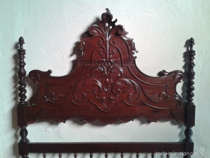 Antigüedades: Cama antigua portuguesa 150 cm. Cama estilo alfonsino isabelino barroco, cabecero antiguo rústico. - Foto 9 - 57670509