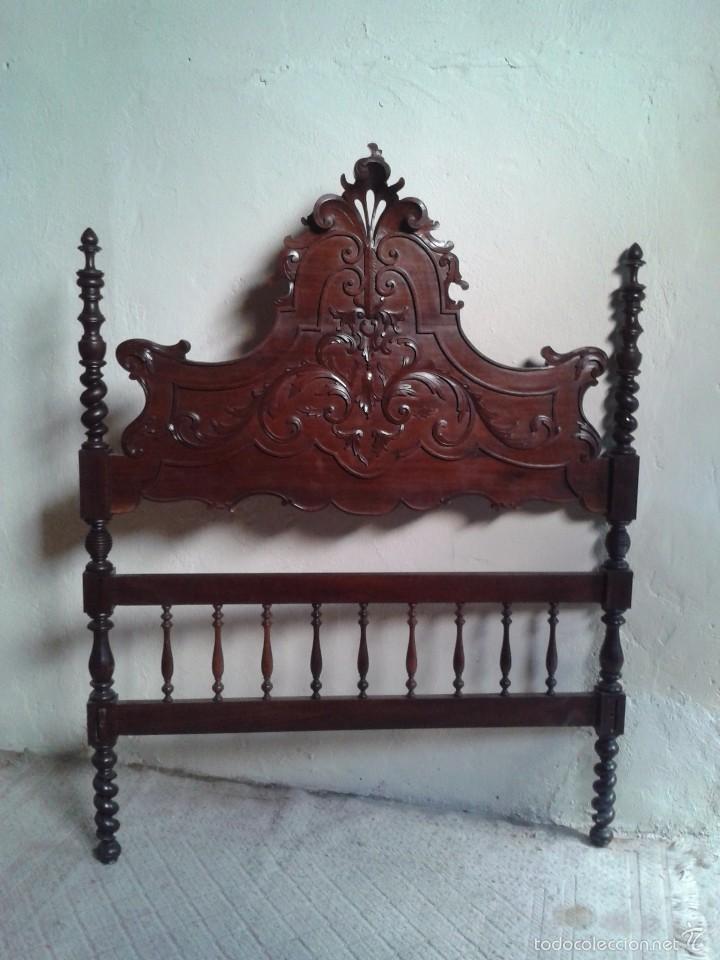 Antigüedades: Cama antigua portuguesa 150 cm. Cama estilo alfonsino isabelino barroco, cabecero antiguo rústico. - Foto 11 - 57670509