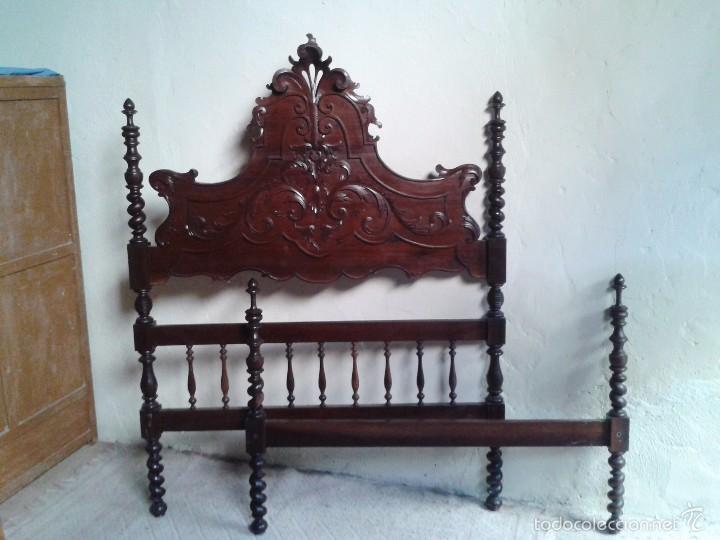 Antigüedades: Cama antigua portuguesa 150 cm. Cama estilo alfonsino isabelino barroco, cabecero antiguo rústico. - Foto 13 - 57670509