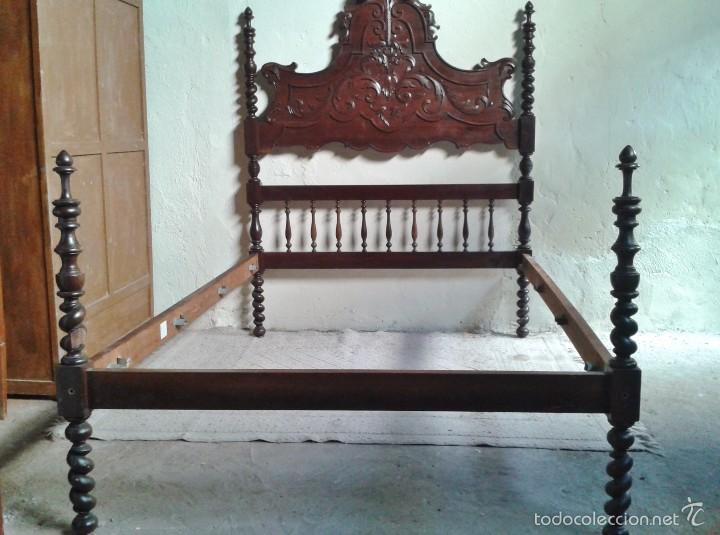 Antigüedades: Cama antigua portuguesa 150 cm. Cama estilo alfonsino isabelino barroco, cabecero antiguo rústico. - Foto 14 - 57670509