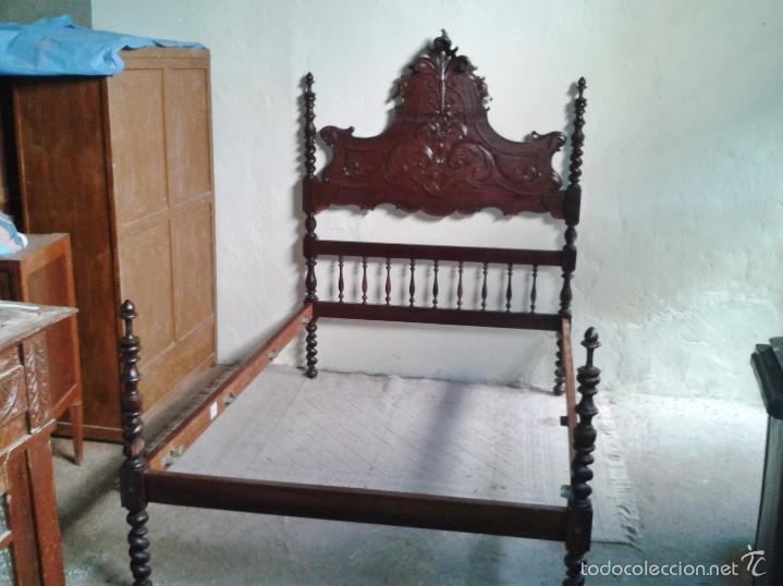 Antigüedades: Cama antigua portuguesa 150 cm. Cama estilo alfonsino isabelino barroco, cabecero antiguo rústico. - Foto 15 - 57670509