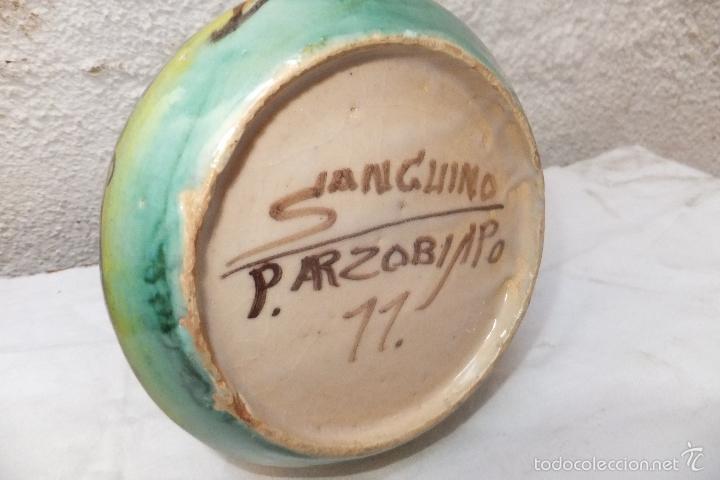 Antigüedades: Jarra Puente Arzobispo firmada Sanguino con ciervo y árboles - Foto 4 - 57689694