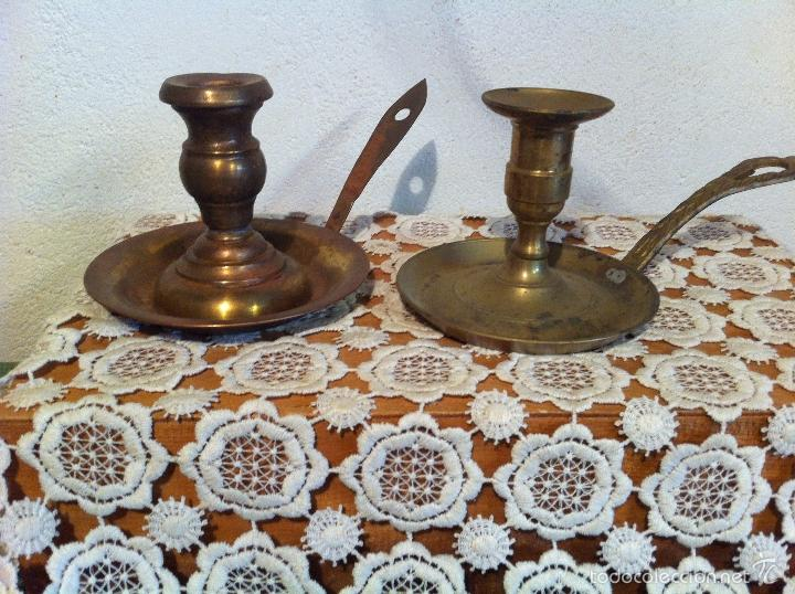 PAREJA DE PALMATORIAS DE BROCE MUY ANTIGUAS (Antigüedades - Hogar y Decoración - Portavelas Antiguas)