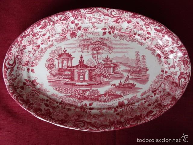 FUENTE OVALADA COLOR ROSA (LA CARTUJA - PICKMAN) (Antigüedades - Porcelanas y Cerámicas - La Cartuja Pickman)