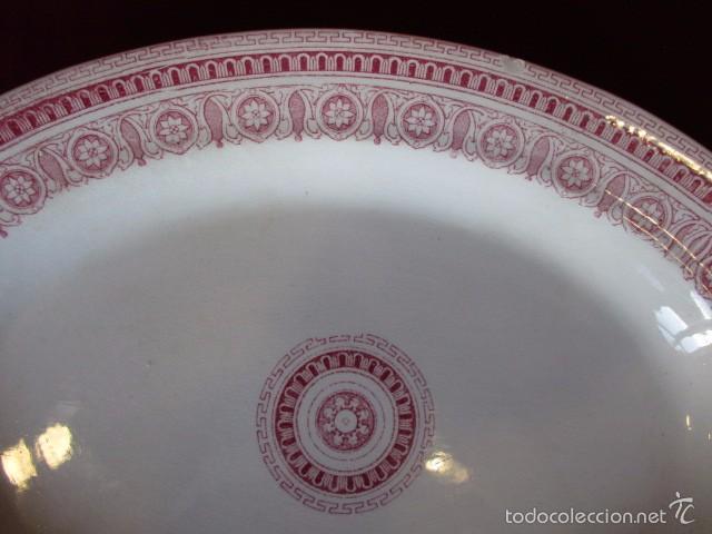 Antigüedades: Fuente grande ovalada color rosa (La Cartuja - Pickman) s.XX - Foto 3 - 57706081
