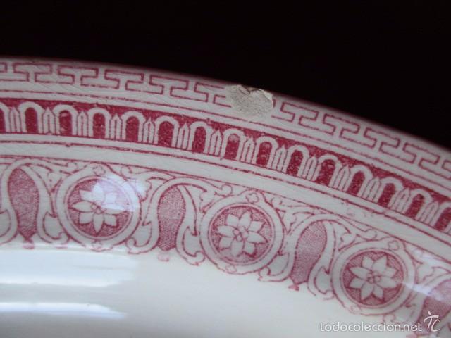 Antigüedades: Fuente grande ovalada color rosa (La Cartuja - Pickman) s.XX - Foto 4 - 57706081