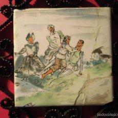 Antigüedades: ANTIGUO AZULEJO CON HIERRO FORJADO PINTURA ANTIGUA DE DON QUIJOTE. Lote 43873503