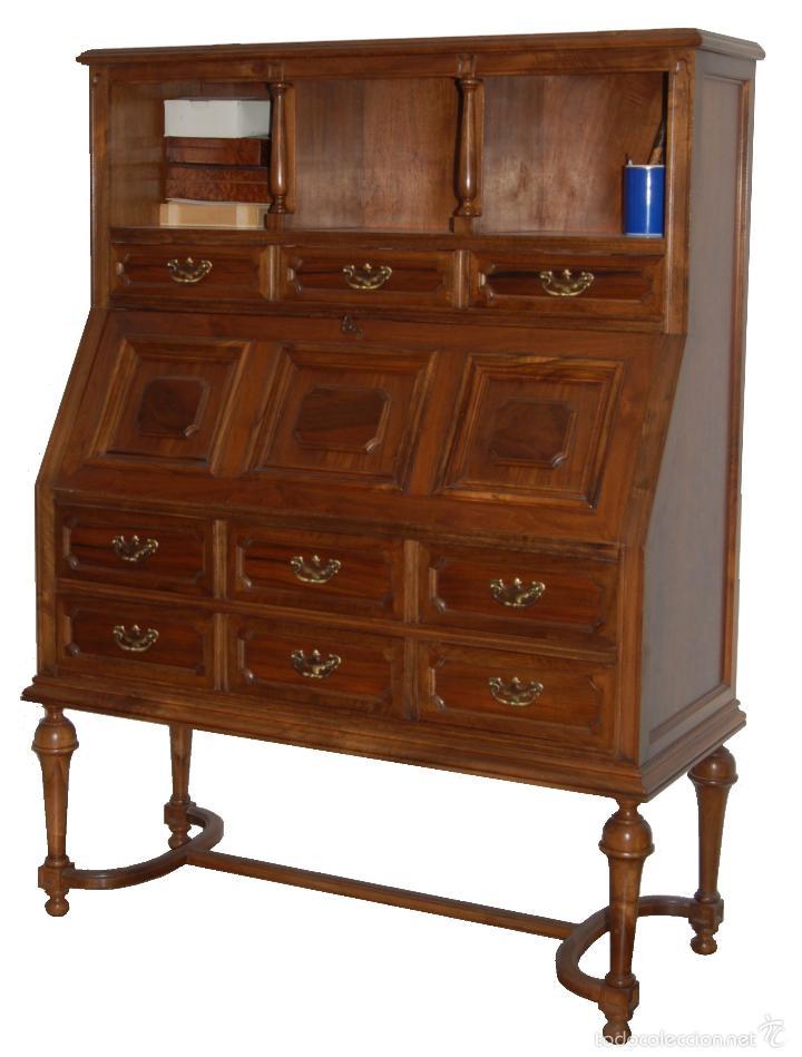 Canterano secreter escritorio en nogal y haya comprar for Muebles escritorios clasicos