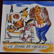 Antigüedades: ANTON ROCA MARISTANY (BARCELONA,1895 - 1977) AZULEJO PINTADO A MANO. 15 CM. X 15 CM.. Lote 57712171