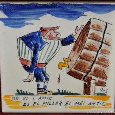 Antigüedades: ANTON ROCA MARISTANY (BARCELONA,1895 - 1977) AZULEJO PINTADO A MANO. 15 CM. X 15 CM.. Lote 57712300