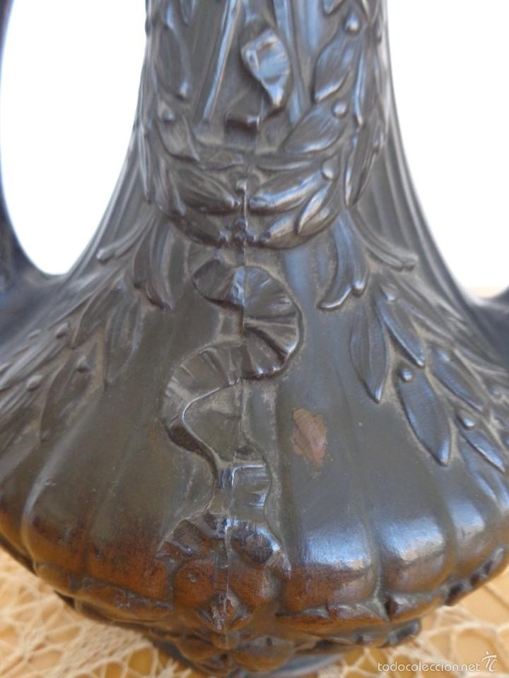 Antigüedades: JARRON MODERNISTA DE BRONCE - PATINA OSCURA - Foto 3 - 57713400