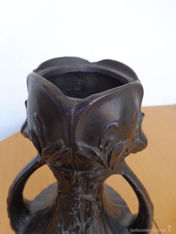 Antigüedades: JARRON MODERNISTA DE BRONCE - PATINA OSCURA - Foto 11 - 57713400
