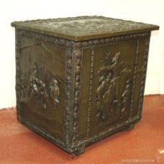 Antigüedades: LEÑERO. MADERA DE PINO SOBRE COBRE. ESTILO CLÁSICO. ESPAÑA. CIRCA 1900.. Lote 57720537