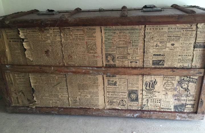 Antigüedades: Antiguo baúl polipiel marrón y madera - Foto 7 - 57724281