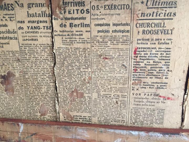 Antigüedades: Antiguo baúl polipiel marrón y madera - Foto 9 - 57724281