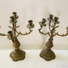 Antigüedades: PAREJA DE CANDELABROS PARA VELAS. Lote 57738060