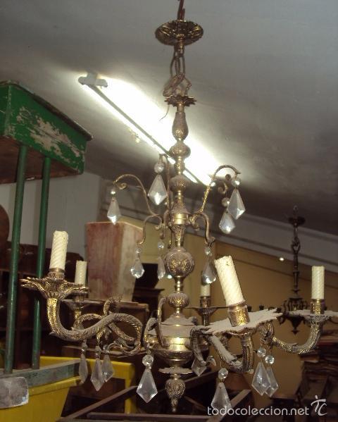 Antigüedades: Antigua lámpara de bronce - Foto 2 - 57742182