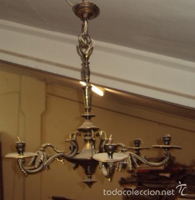 Antigüedades: Antigua lámpara de bronce - Foto 2 - 57742194
