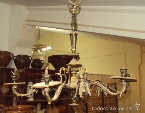 Antigüedades: Antigua lámpara de bronce - Foto 3 - 57742194