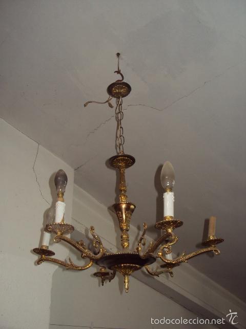 ANTIGUA LÁMPARA DE BRONCE (Antigüedades - Iluminación - Lámparas Antiguas)