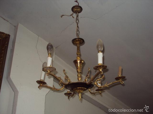 Antigüedades: Antigua lámpara de bronce - Foto 2 - 57742346