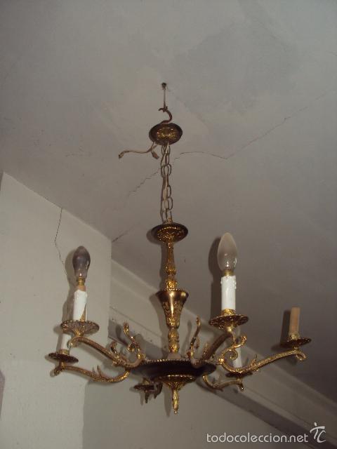 Antigüedades: Antigua lámpara de bronce - Foto 3 - 57742346