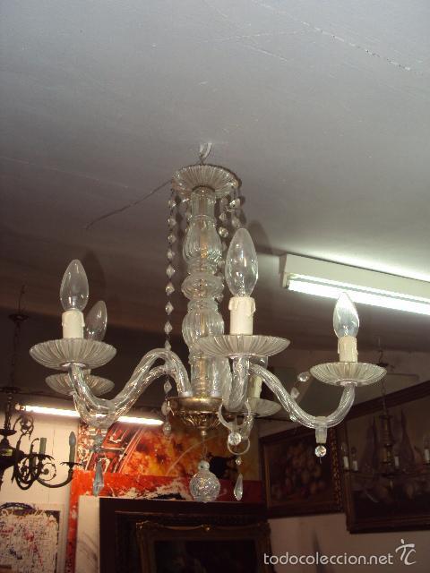 Antigüedades: Lámpara antigua de cristal - Foto 3 - 57742416