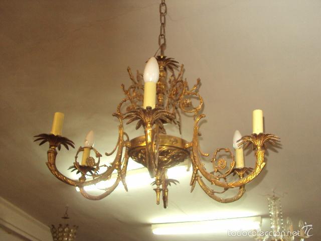 Antigüedades: Antigua lámpara de bronce - Foto 2 - 57742453